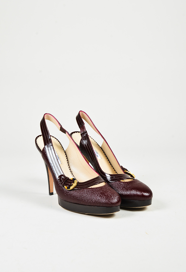 Purple Patent & Crinkled Leather Slingback Pumps