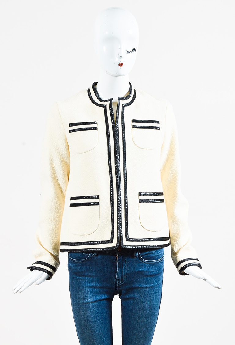 White Wool Black Leather Trim Jacket