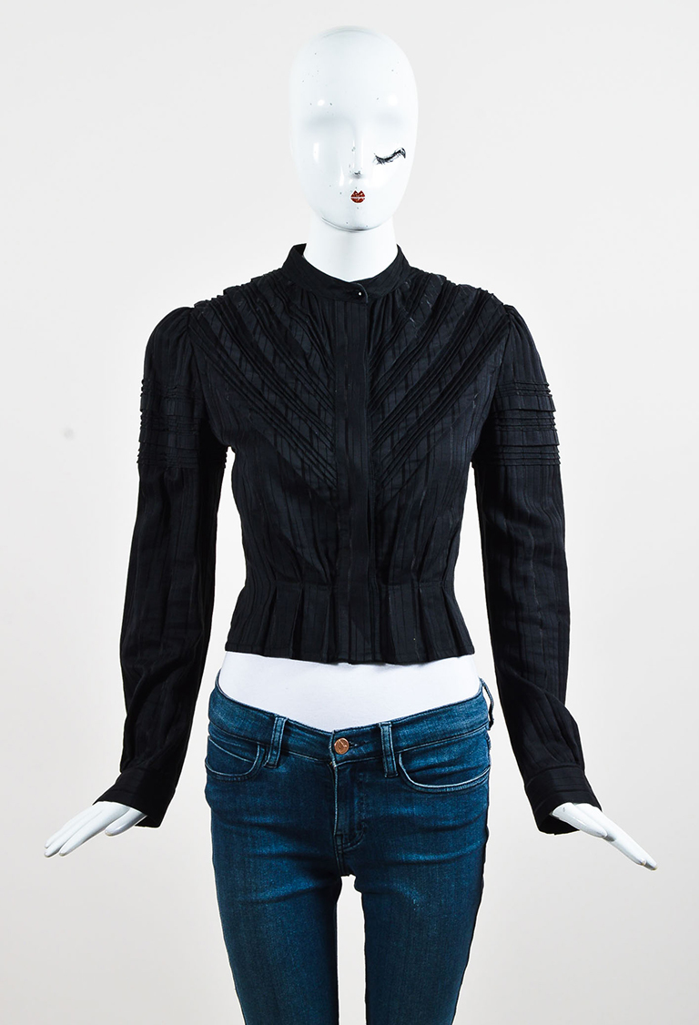 Black Cotton Blend Pleated Long Sleeve Button Up Blouse