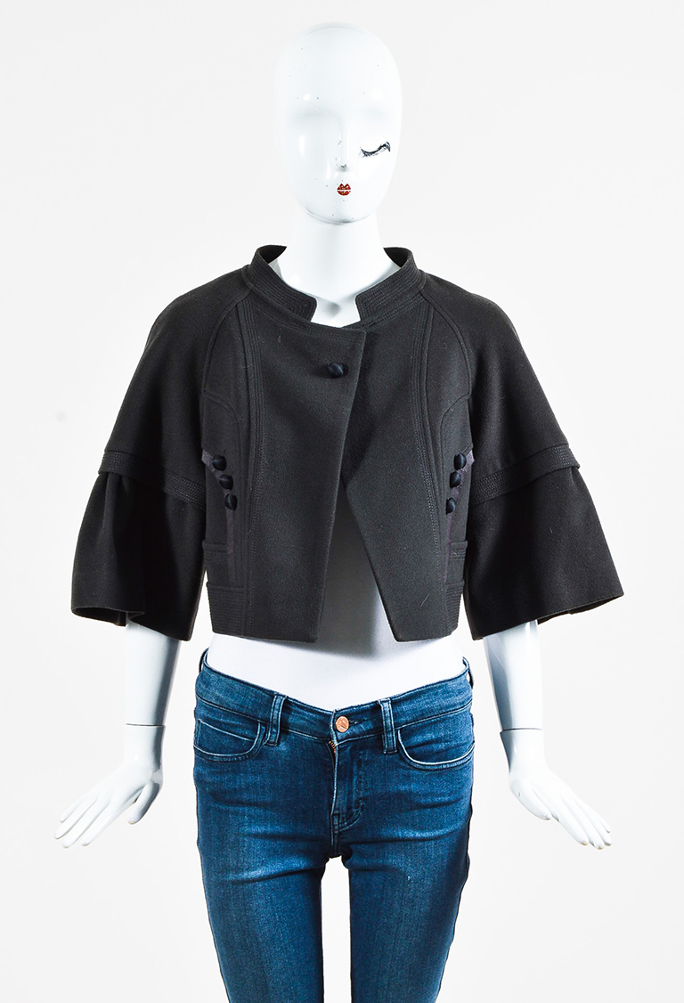 Black Cashmere Blend Snap Front Cropped Jacket