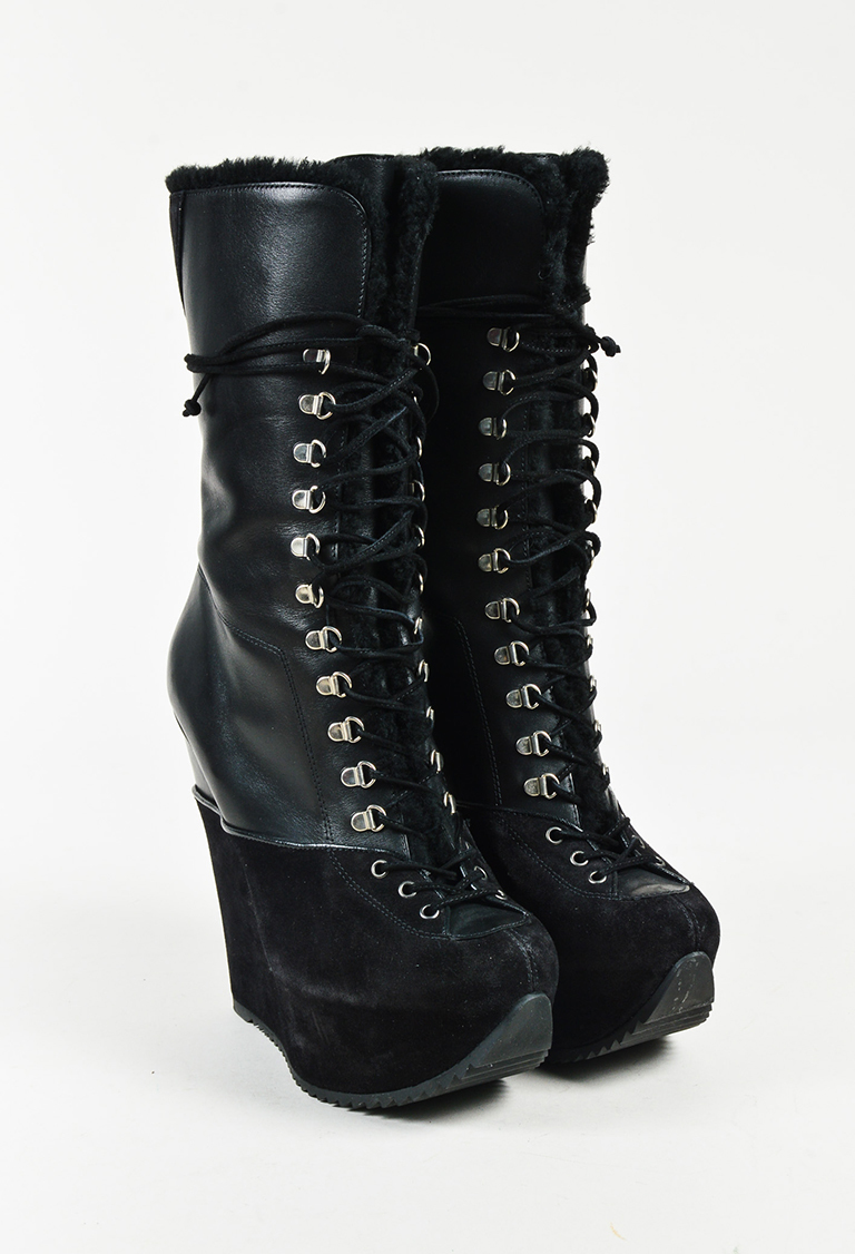 567a4980db0 Saint Laurent. Yves Black Leather Suede Shearling Lined Laced Wedge Boots