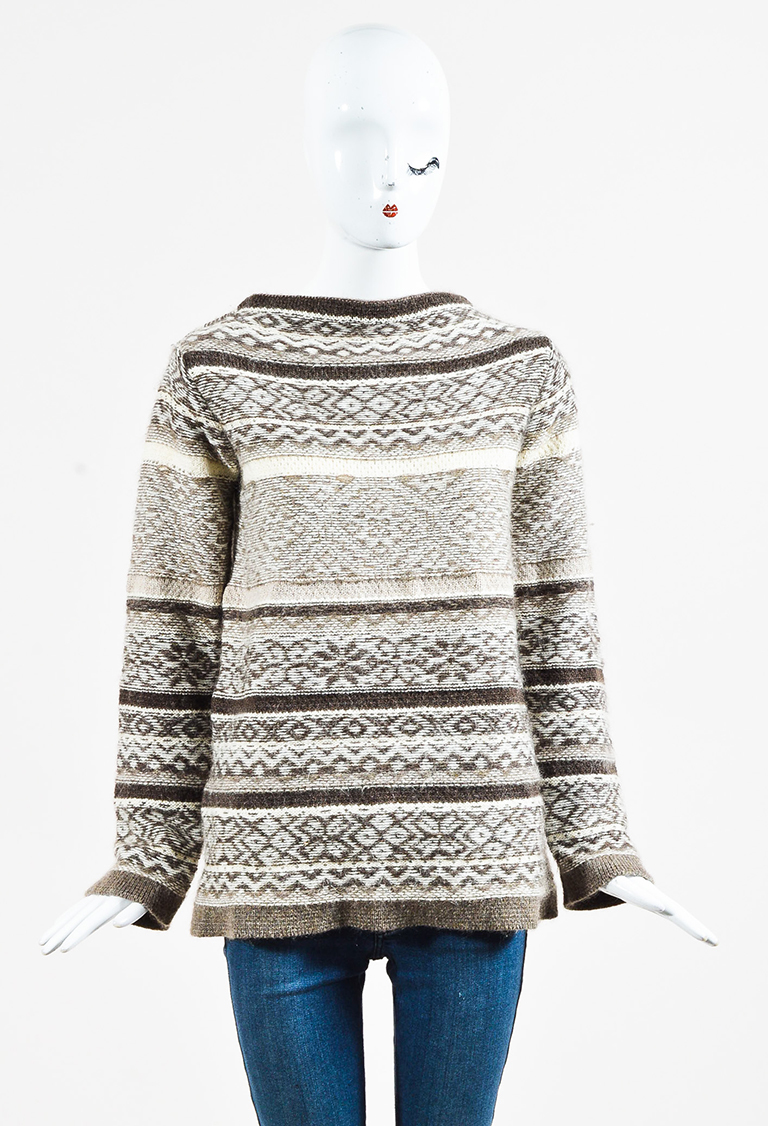 dab999f5b9644 Marc Jacobs Brown   Cream Wool Blend Striped   Patterned Sweater ...