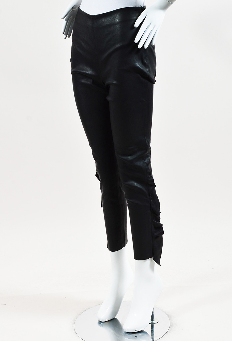 "Black Leather Frilled ""Cardash"" Leggings"