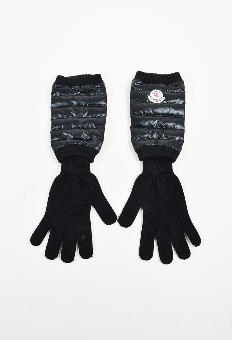 Black Wool Knit & Quilted Nylon Gloves