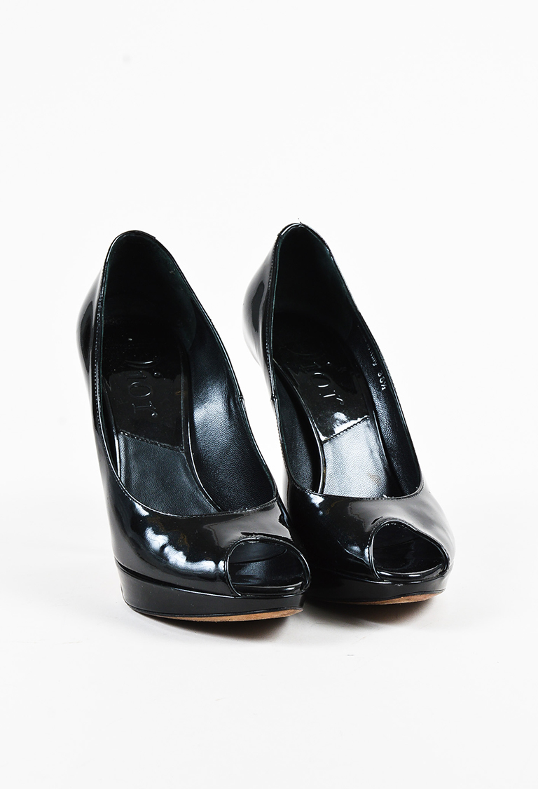 Dior Black Patent Leather Peep Toe Platform Pumps