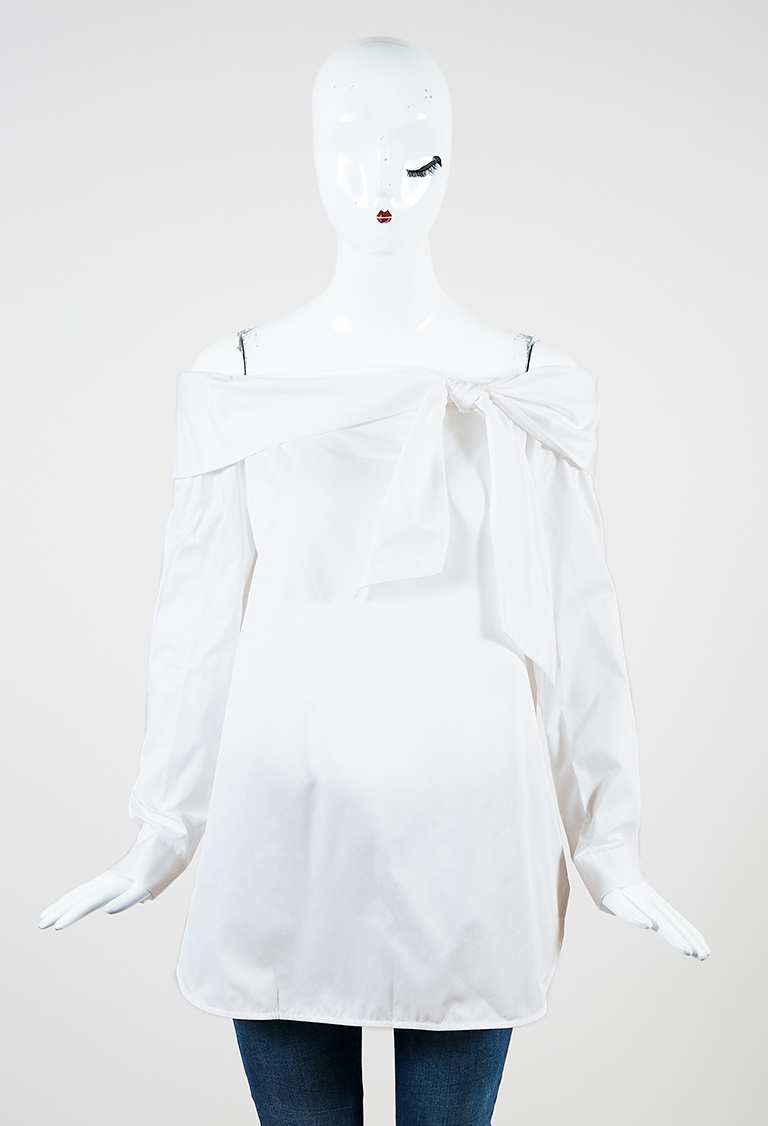 White Cotton Off the Shoulder Long Sleeve Top