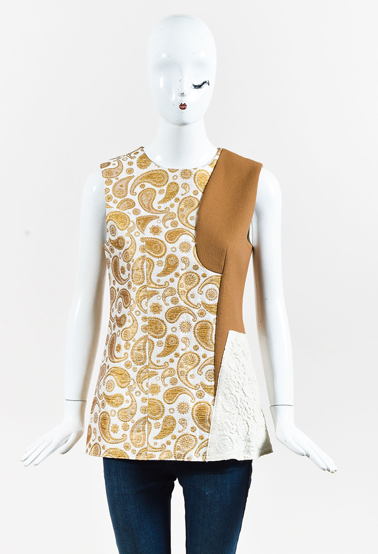 Beige Metallic Gold & Brown Wool Blend Paisley Top