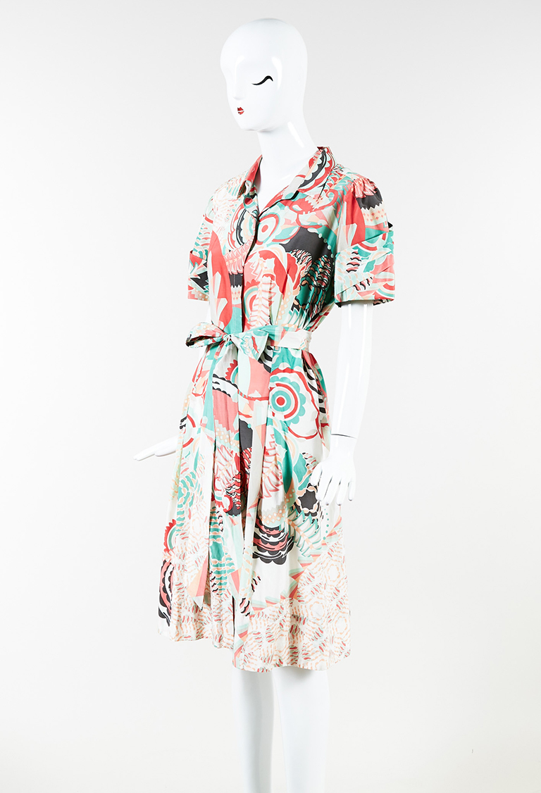 Pink Multicolor Cotton & Silk Printed Short Sleeve Belted Dress
