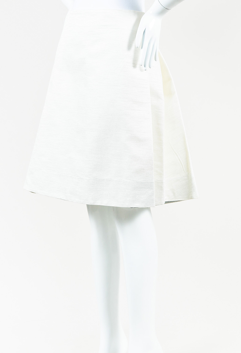 Cream Textured Satin Sheridan Ribbed A-Line Skirt