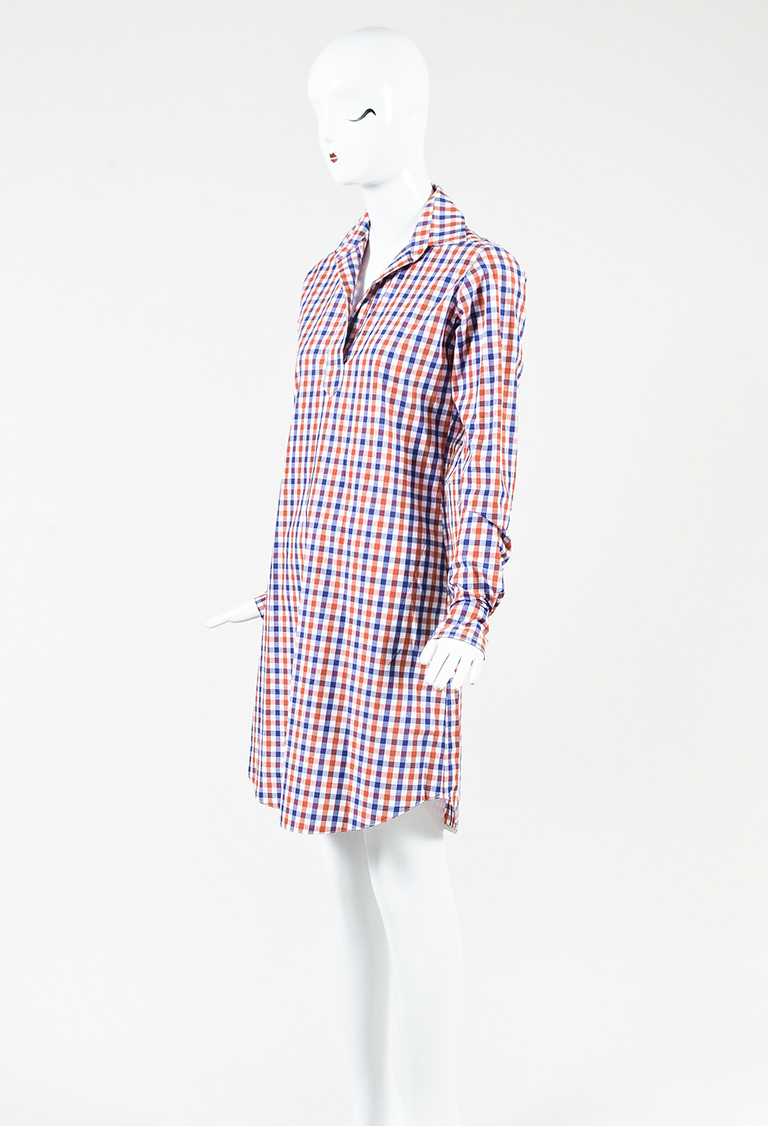 Orange Blue & White Gingham Plaid Long Sleeve Popover Dress