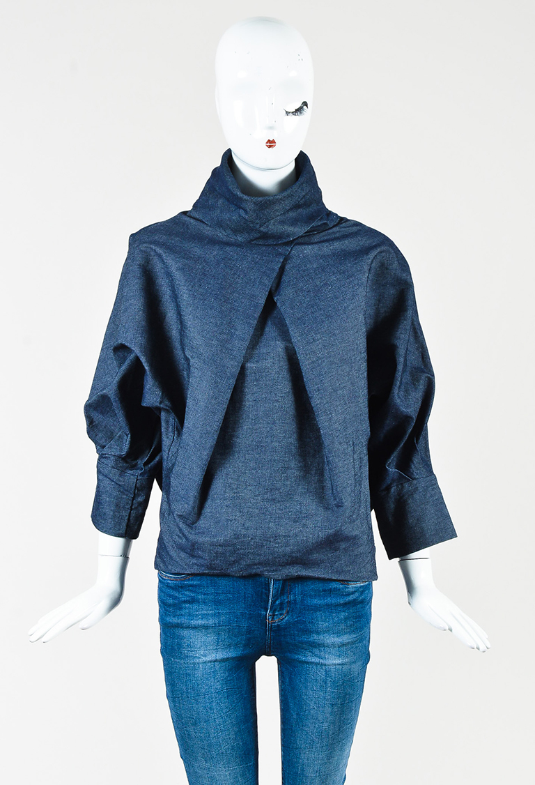 Blue Denim Pleated Batwing Cowl Neck Top