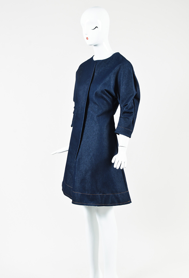 "2  Blue Denim Asymmetric Draped Flared ""Deb"" Dress"