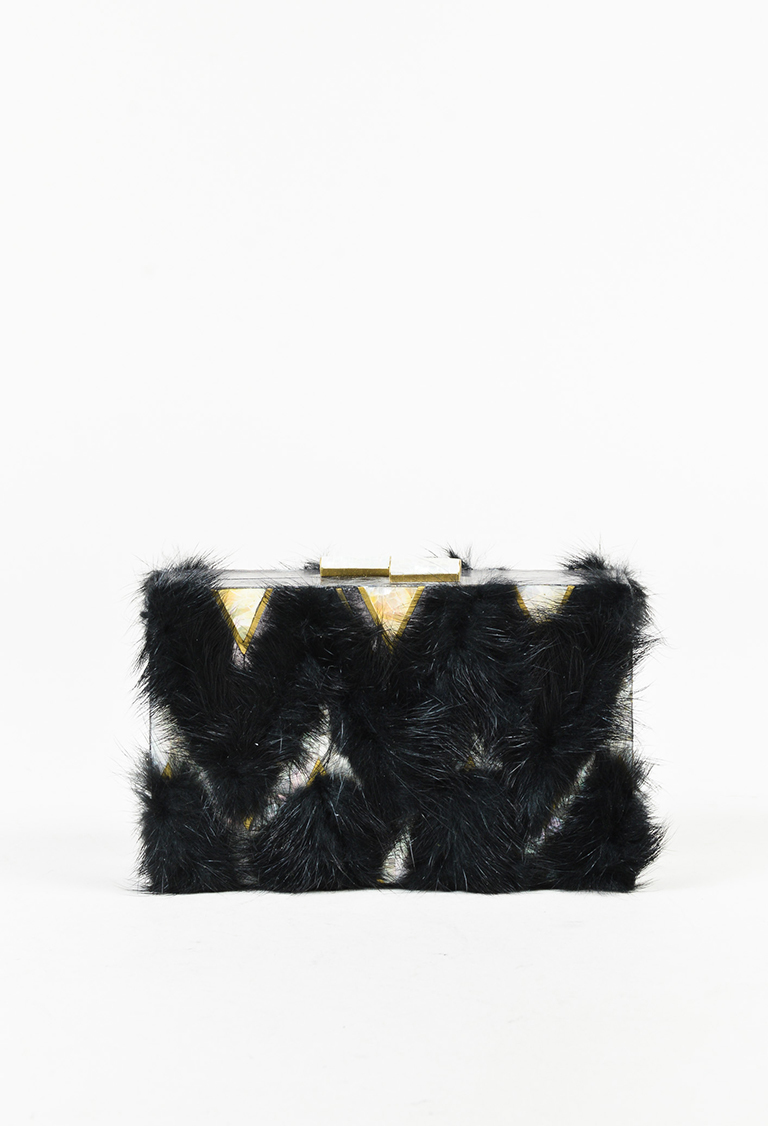 "Black Metallic Multicolor Snakeskin Mink Fur ""Ciggones"" Box Clutch"