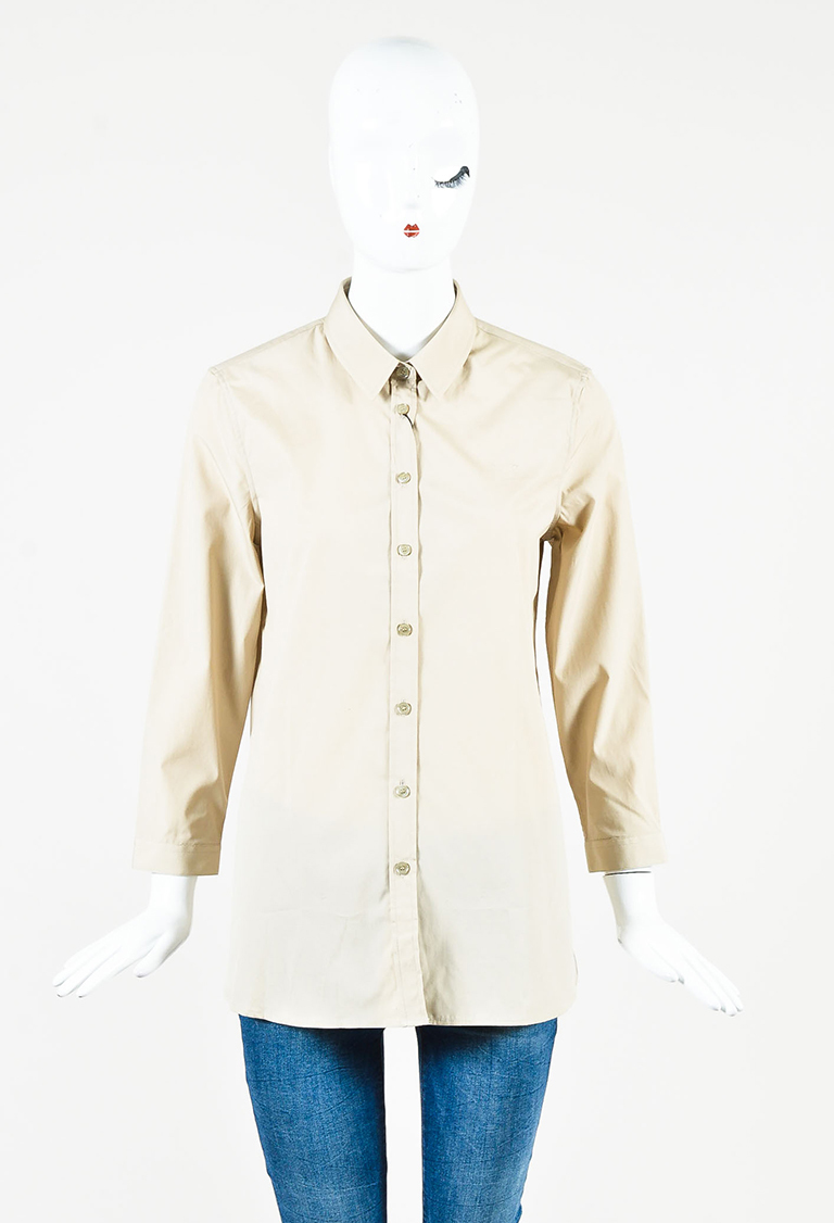Heritage Stone Beige Cotton Blend Long Sleeve Buttoned Shirt