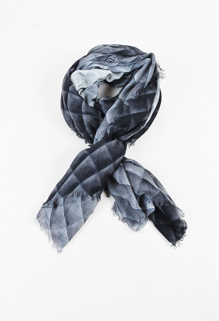 Gray Black Cashmere 'CC' & Quilted Print Shawl Scarf