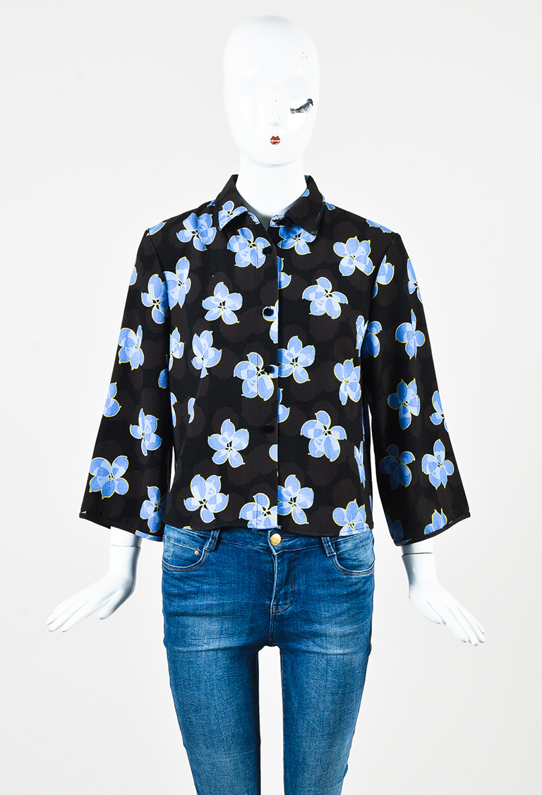 Black Blue Multicolor Buttoned Floral Print Cropped Sleeve Top