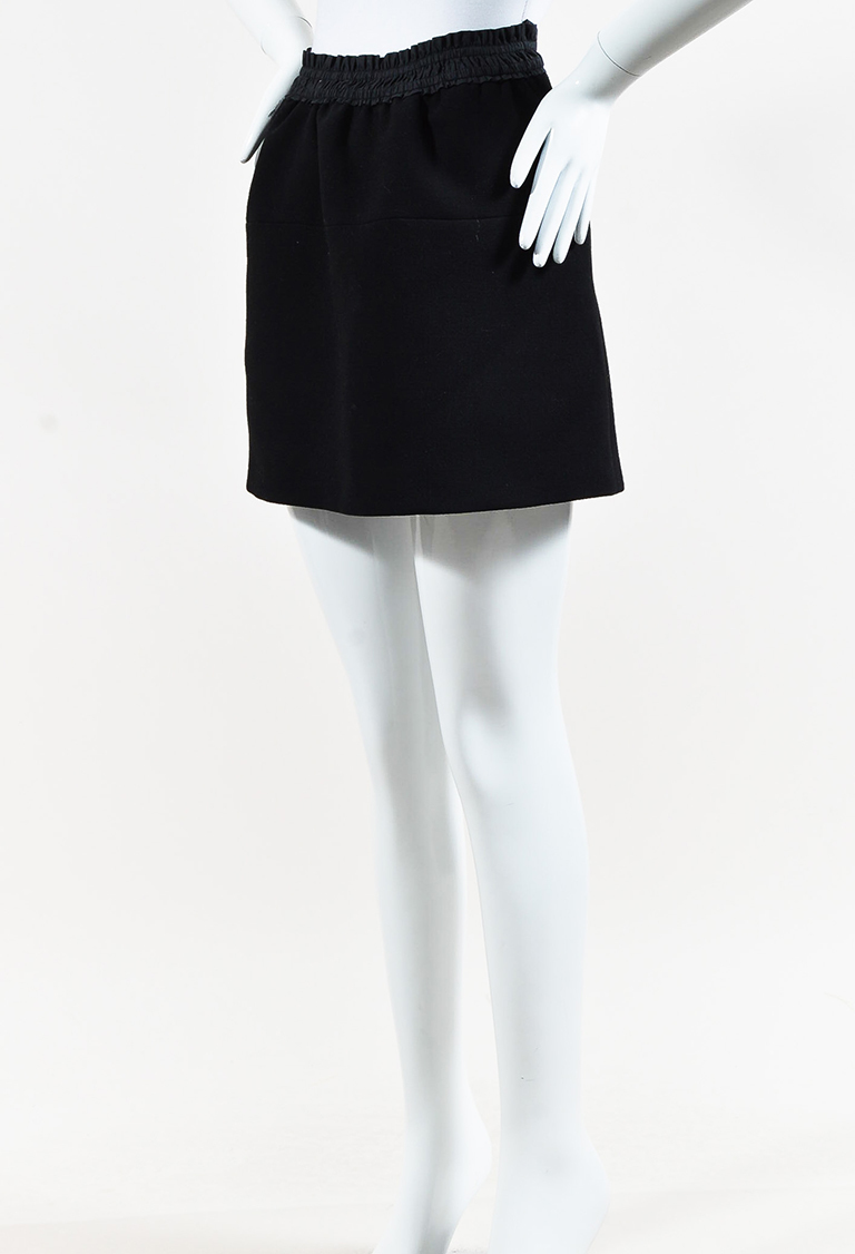 Black Wool Blend Ruched Waist Mini Skirt