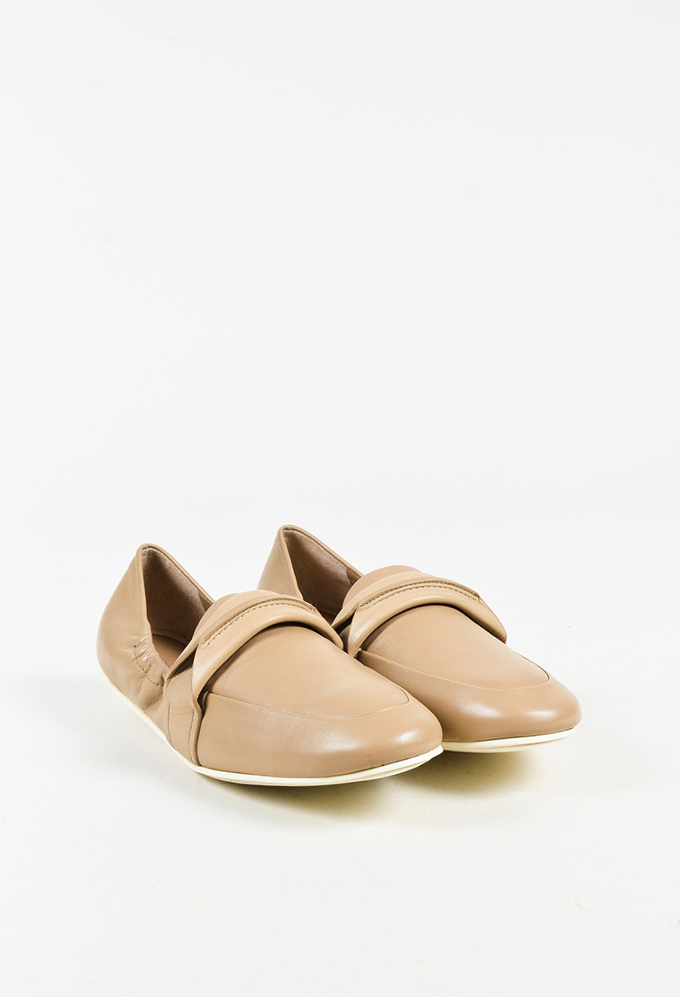 """Taupe Lux Nappa Leather """"Erin"""" Flats"""