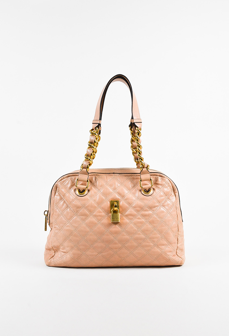 """Pink Petal"" Quilted Leather Gold Tone Chain Link Shoulder Bag"