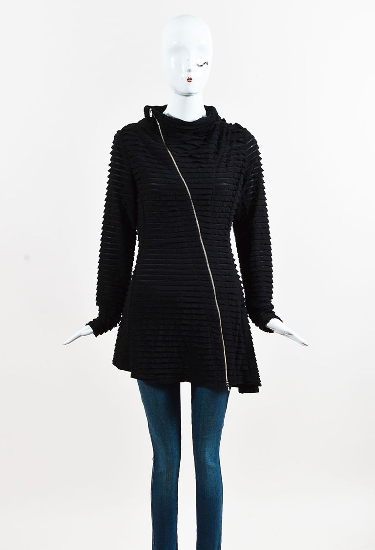 Black Knit Tiered Frill Zipped Jacket
