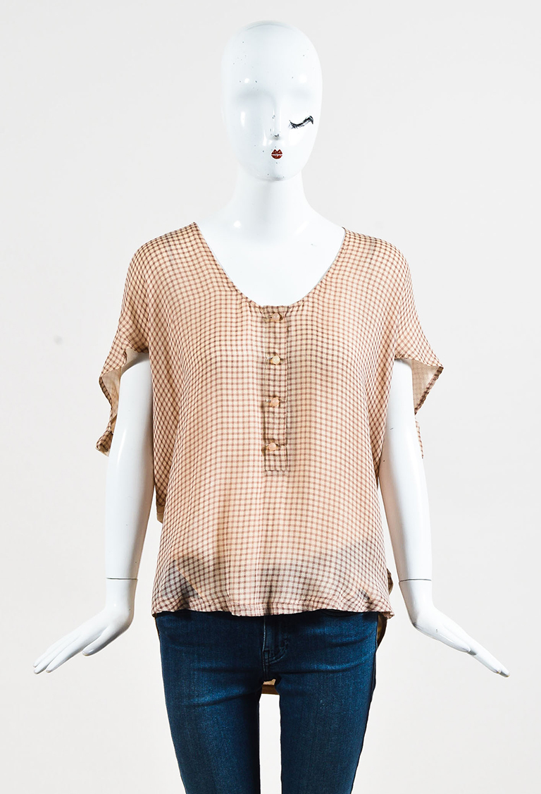 Brown Silk Blend Check Print Buttoned Top