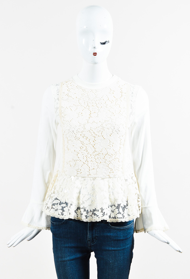 See by  White Knit Cream Floral Lace Long Sleeve Peplum Top