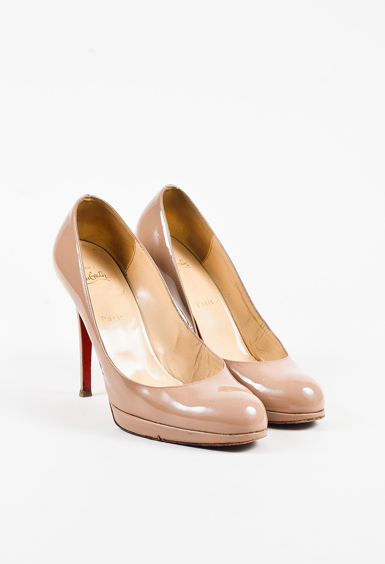 5dd08fbf9223 Christian Louboutin. Beige Patent Leather
