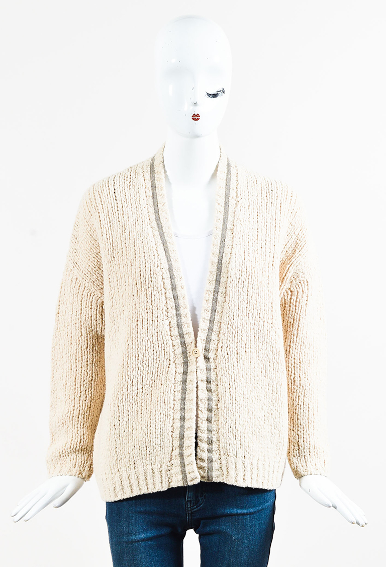 Cream Wool Blend Ribbed Knit Embellished Cardigan