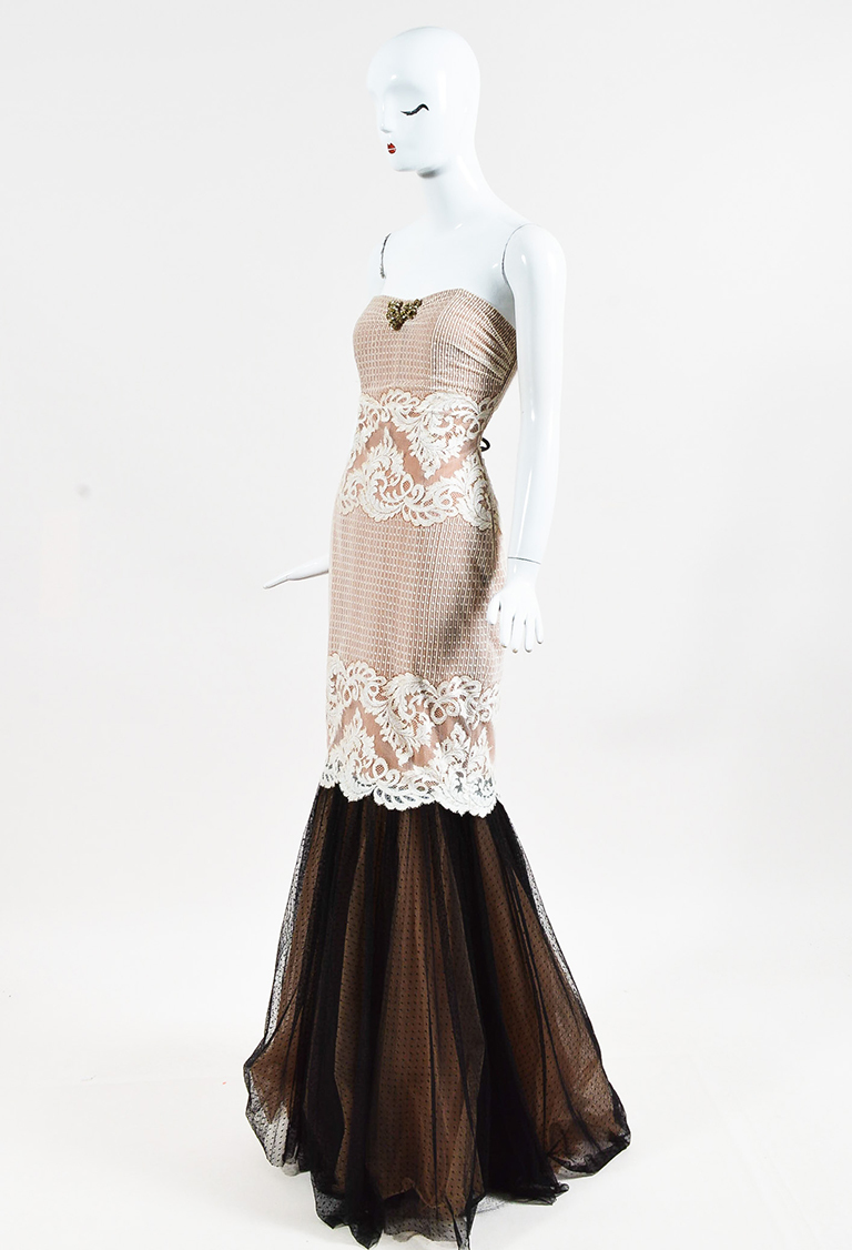 Cream Black Floral Lace & Dotted Mesh Strapless Gown
