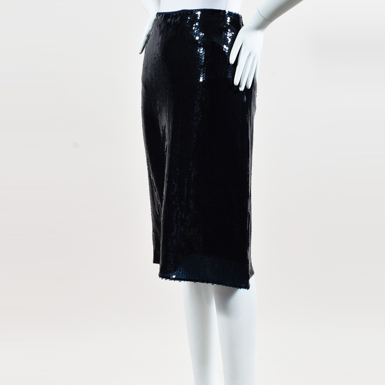 ea7b52690c Details about Nina Ricci NWT Blue Sequin Embellished Pencil Skirt SZ 36