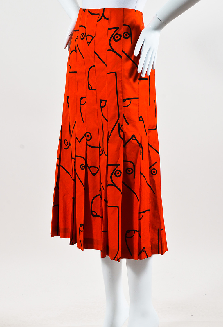 Collection Red Black Cotton Printed Pleated Skirt