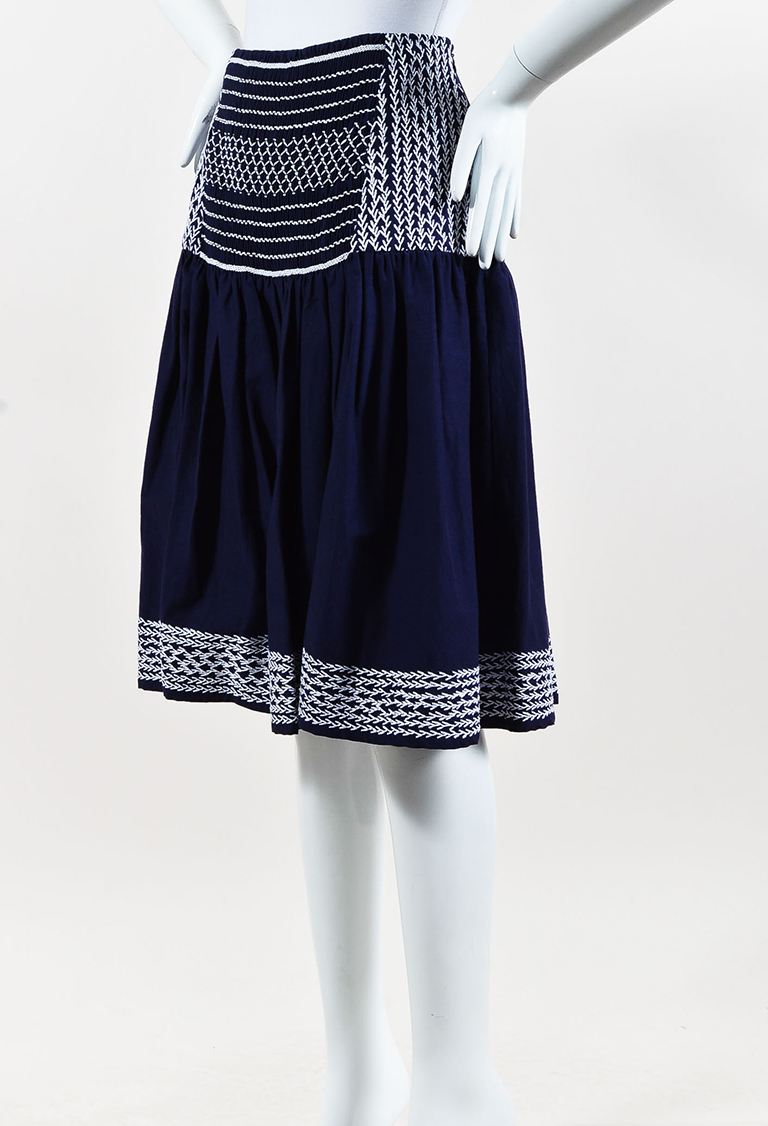 Blue Cotton White Embroidered Pleated Skirt