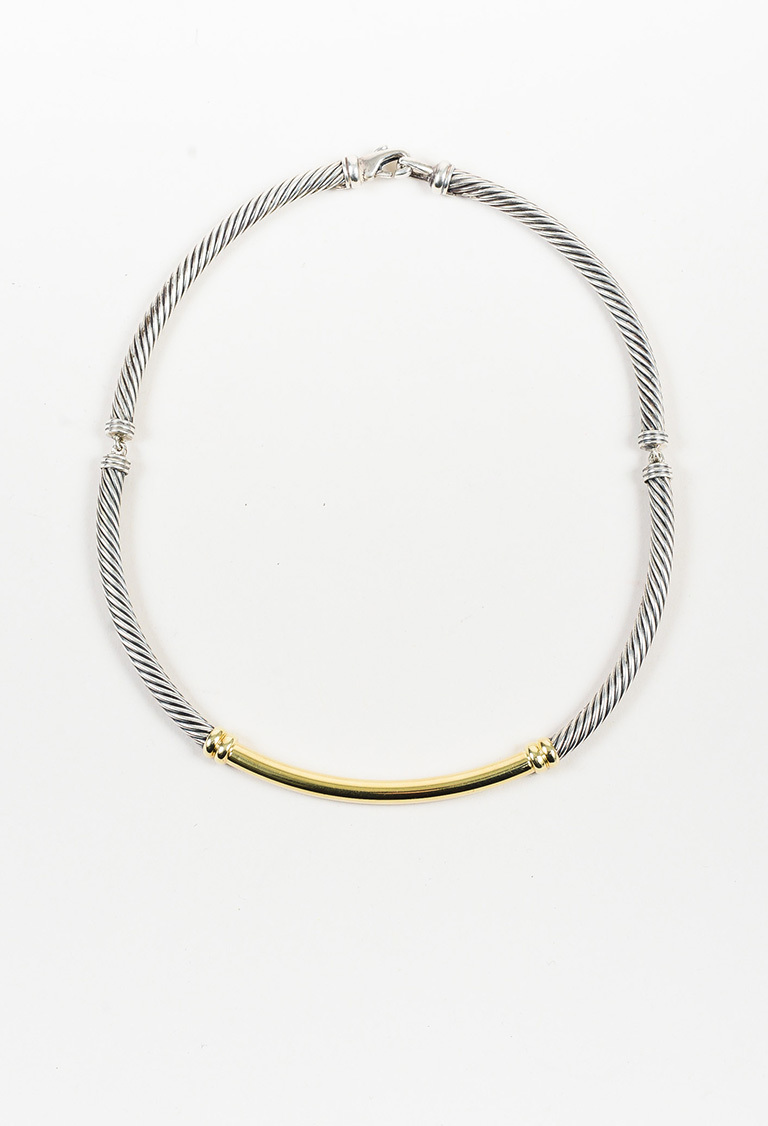 """Metro"" Sterling Silver & 14K Yellow Gold Cable Collar Necklace"