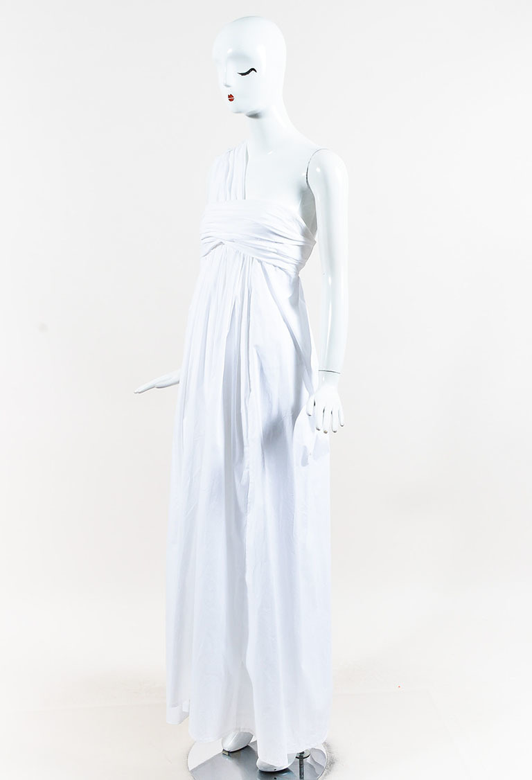 White Cotton Blend One Shoulder Pleated Maxi Dress