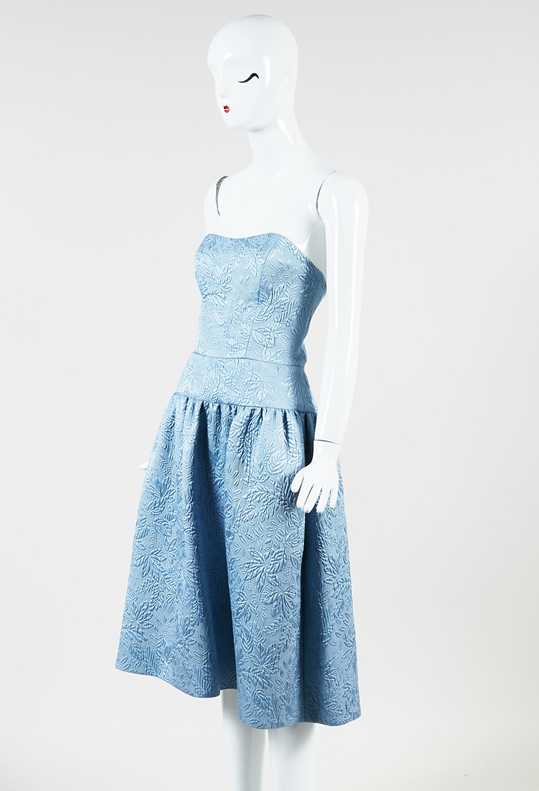 "Blue Silk Blend Brocade ""Strapless Cocktail"" Dress"