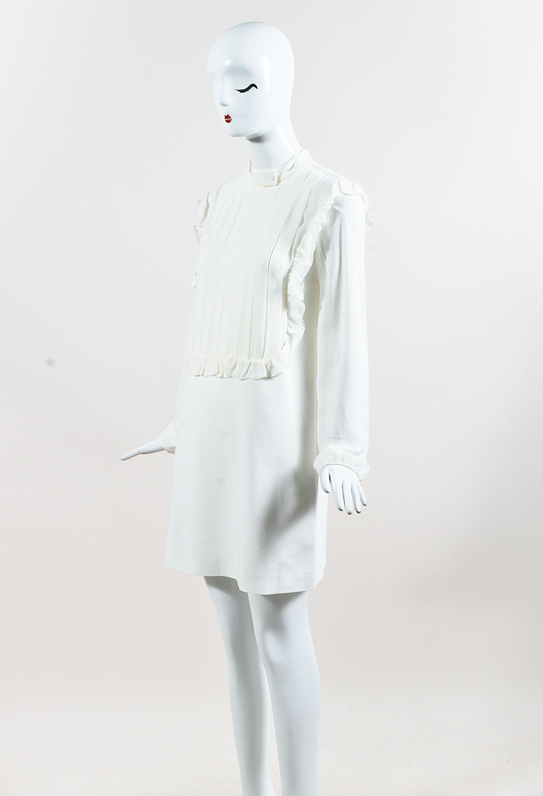 Giamba White Crepe Long Sleeve Pleated Shift Dress