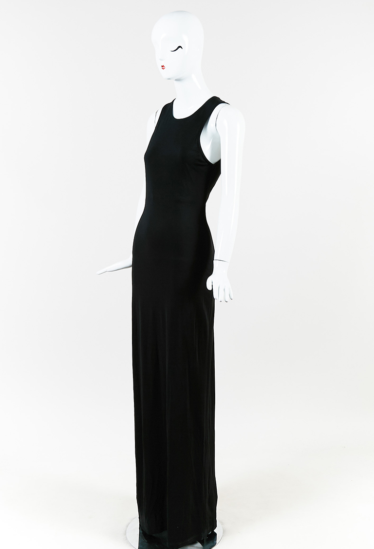 "Black Knit Open Back ""Chloe"" Maxi Dress"