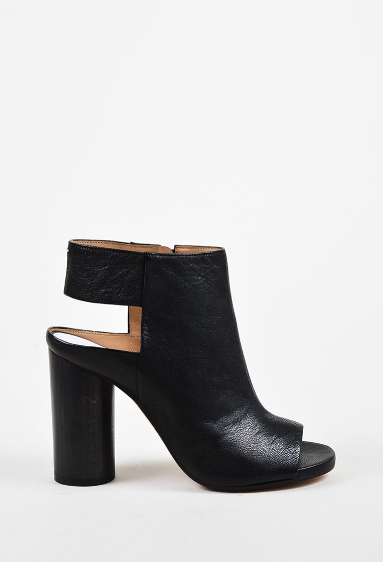 128cabd14bb0 Maison Margiela Black Leather Peep Toe Block Heel Bootie Sandals. Maison  Martin Margiela