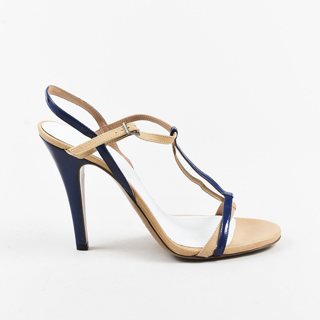 e6b4be05093 Details about Maison Martin Margiela Beige Leather Blue Patent T Strap  Sandals SZ 41