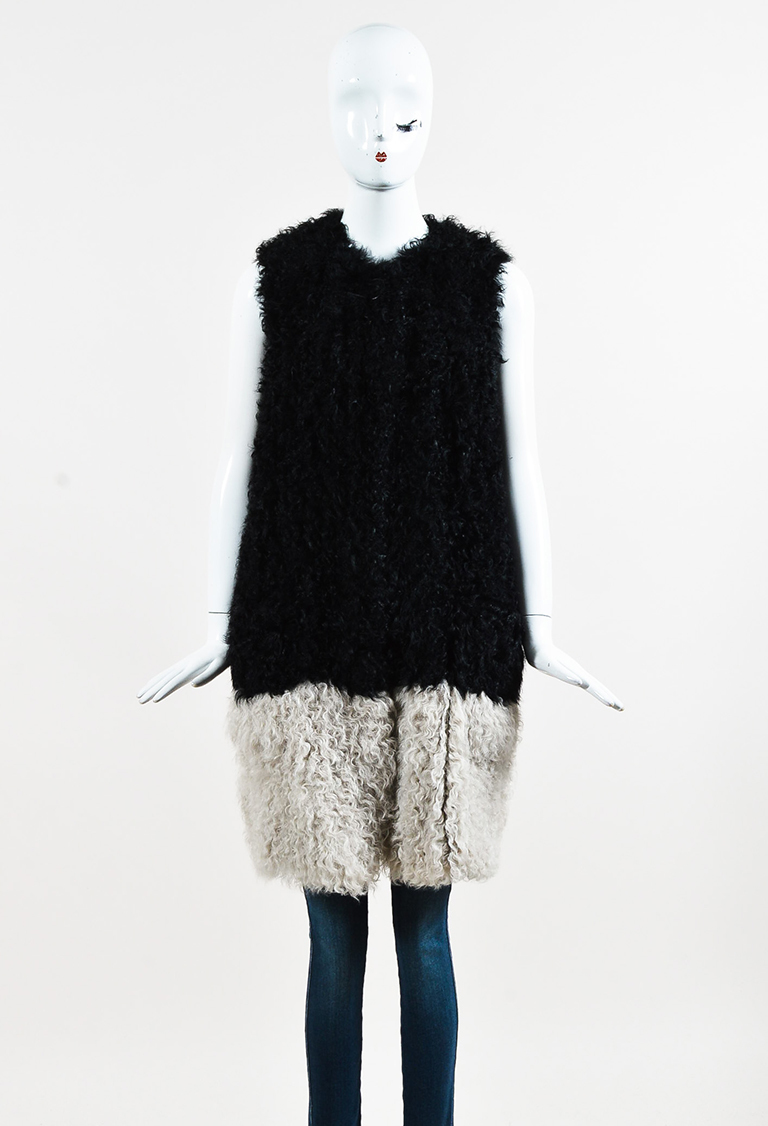 Black & White Lamb Shearling Long Two Tone Gilet Vest