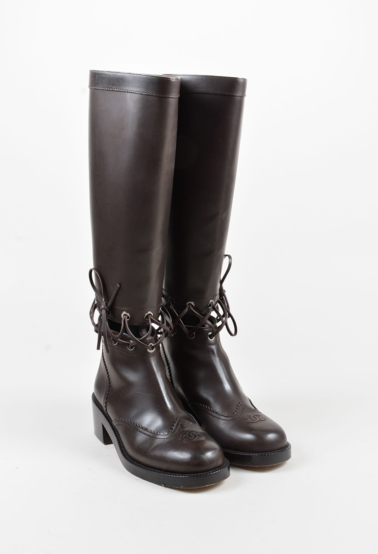 Dark Brown Leather Laced Mid Heel Knee High Boots