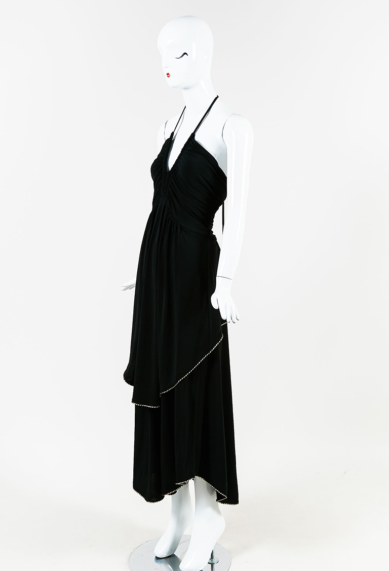 Black Stretch Knit Draped Halter Maxi Dress