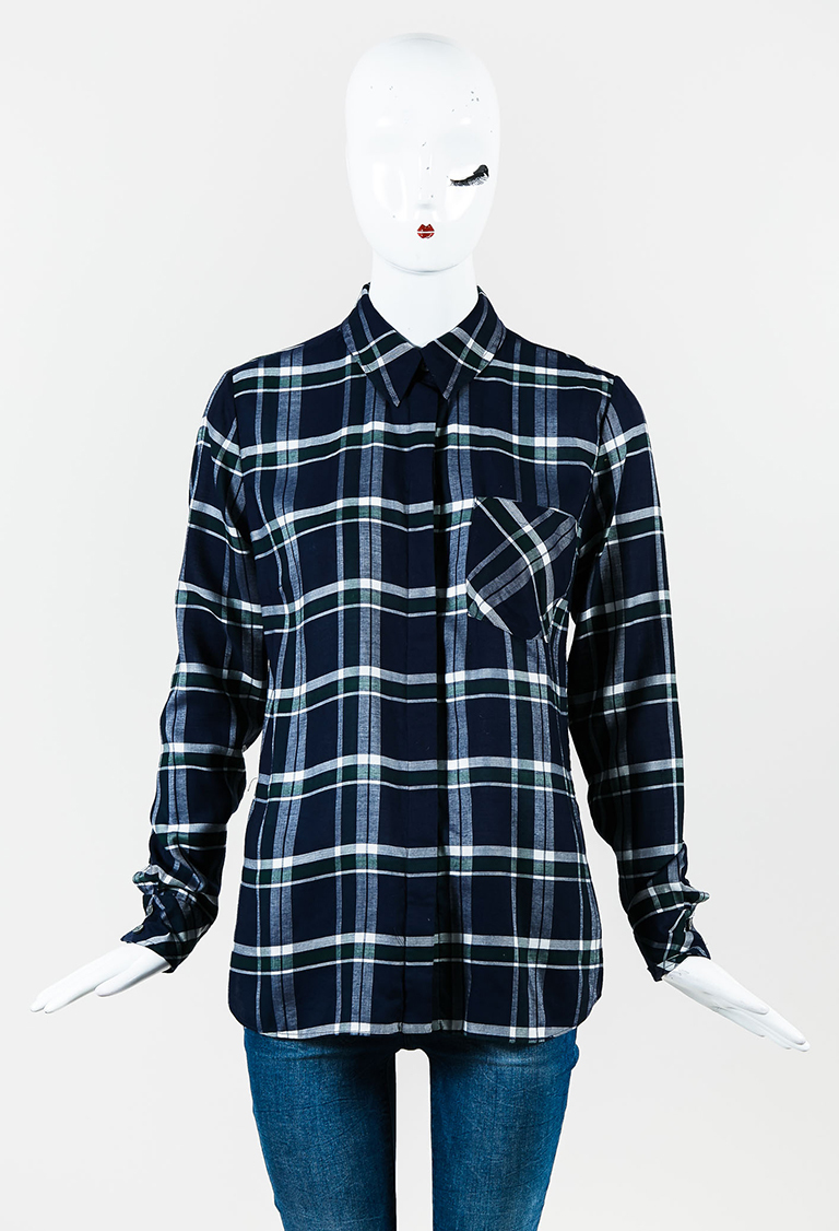 Blue Multi Plaid Collared Long Sleeve Button Up Shirt