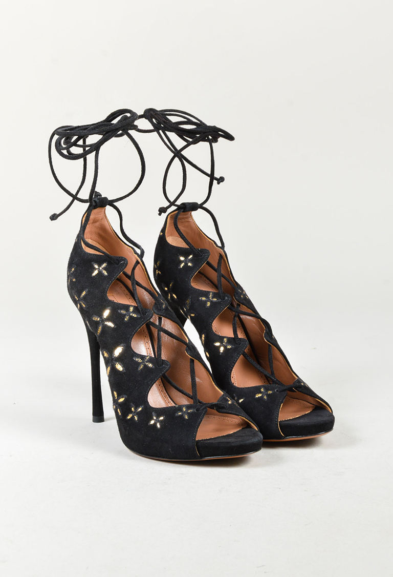 """Noir"" Black & Metallic Gold Suede Embroidered Lace Up Sandals"