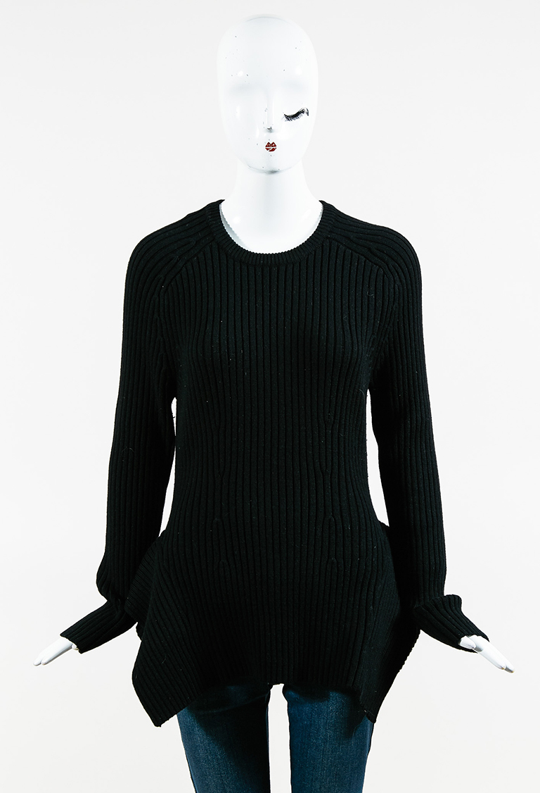 Black Ribbed Wool Blend Knit Long Sleeve Peplum Sweater