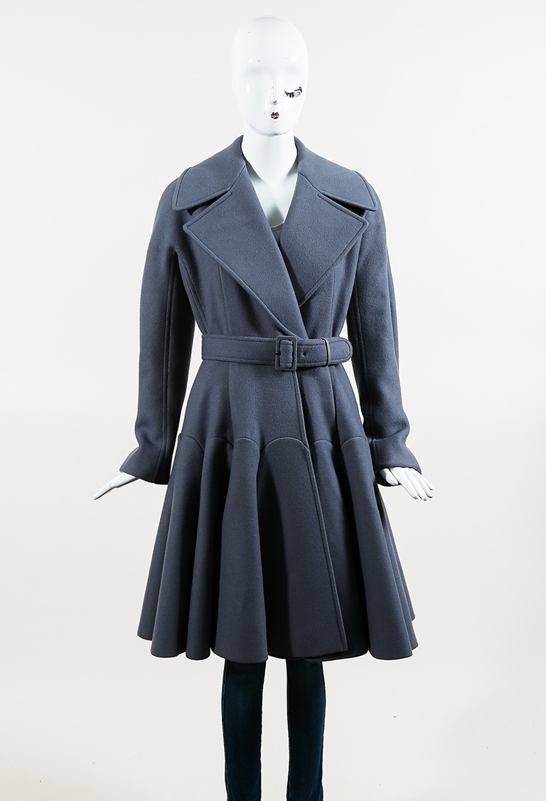 Gray Double Breasted Belted Long Pleated Coat