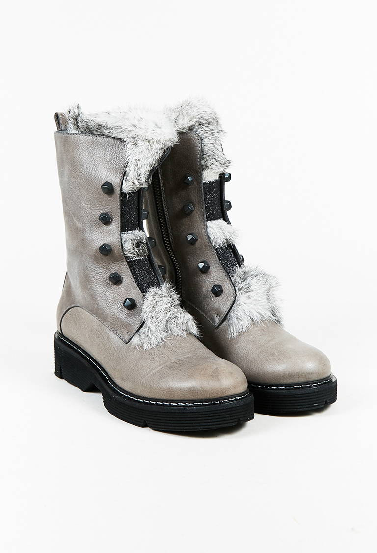 """Gray Leather & Rabbit Fur """"Foster"""" Boots"""