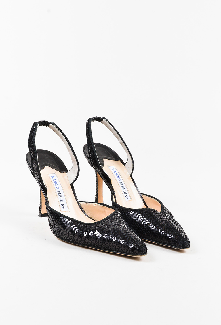 """Black Leather Sequined Pointed """"Carolyne"""" Slingback Pumps"""