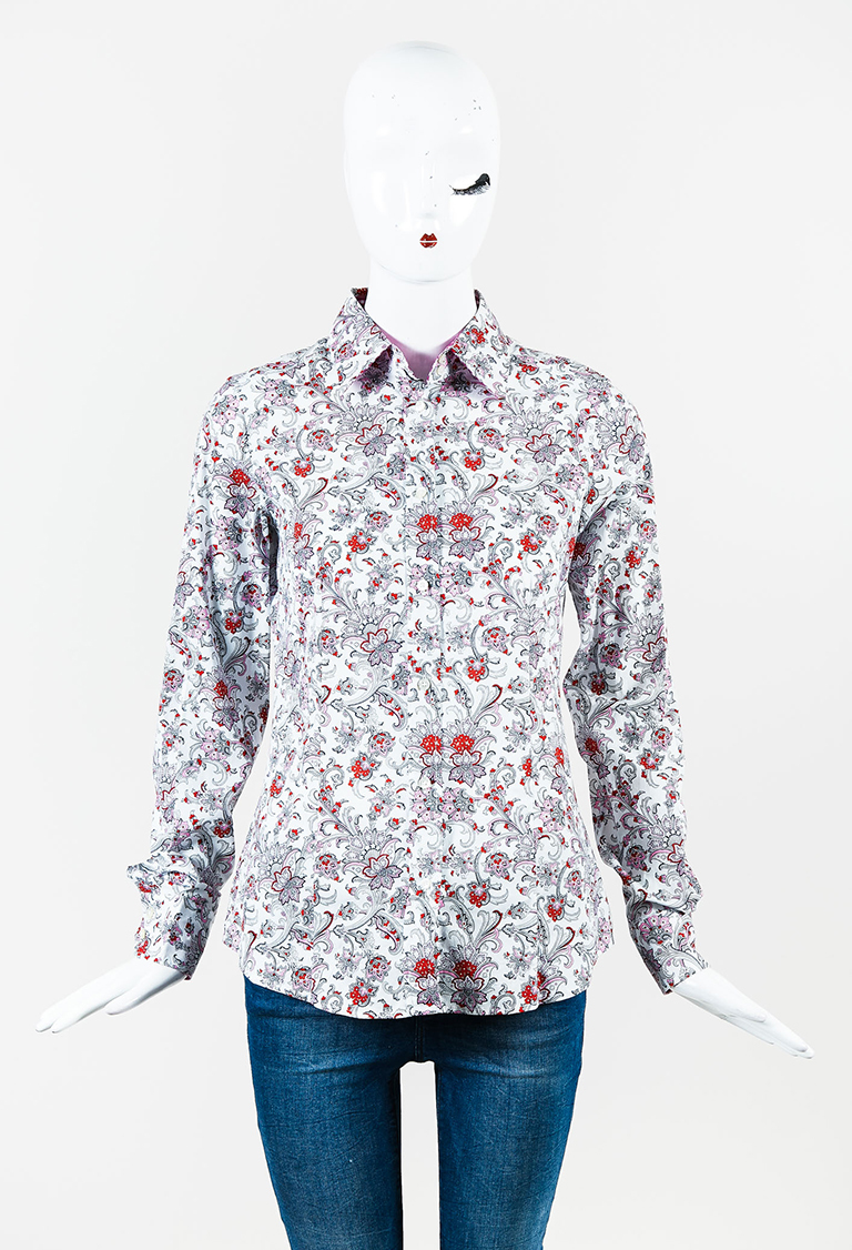 Multicolor Cotton Blend Paisley Print Long Sleeve Button Up Shirt