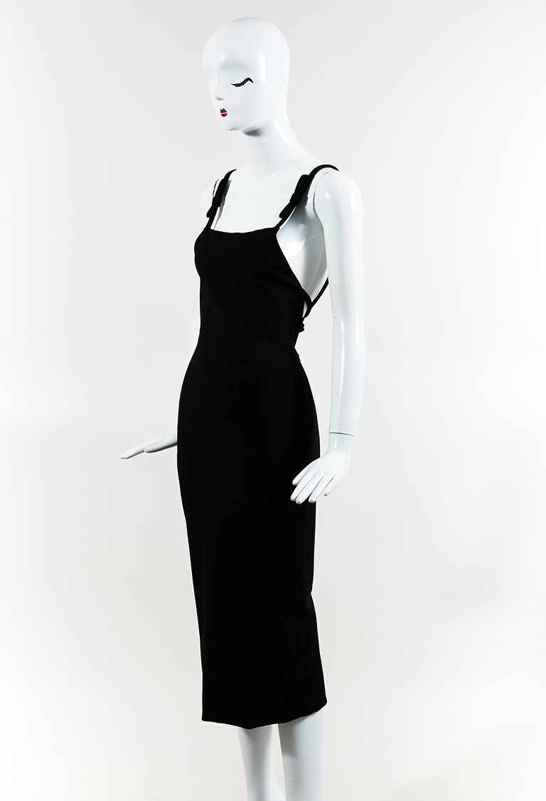 "Black ""Tailor Bow Slip Sheath"" Sleeveless Dress"